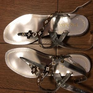 Prada Metallic Floral Sandals